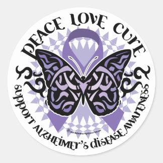 Alzheimers Butterfly Tribal 2 Round Sticker