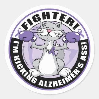 Alzheimers Cat Fighter Round Sticker