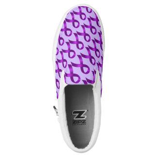 Alzheimer's | Crohn's & Colitis - Purple Ribbon Printed Shoes