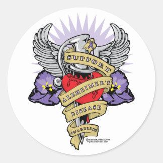 Alzheimer's Dagger Round Sticker