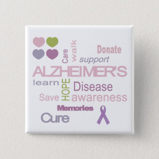 Alzheimer's Disease Awareness 15 Cm Square Badge
