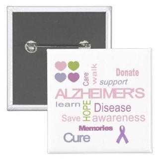 Alzheimer's Disease Awareness 15 Cm Square Badge