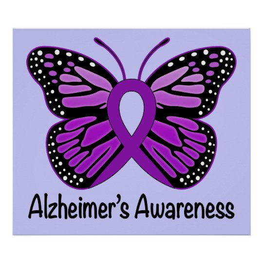 Alzheimer's Disease Awareness Ribbon and Butterfly Poster