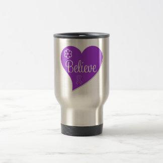 Alzheimers Disease Believe Purple Heart Coffee Mugs