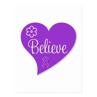 Alzheimers Disease Believe Purple Heart Postcard