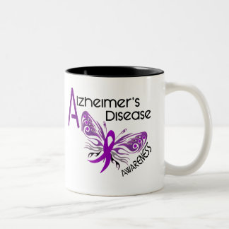 Alzheimer's Disease BUTTERFLY 3 Awareness Two-Tone Coffee Mug