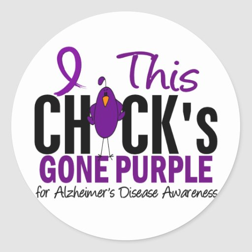Alzheimers Disease Chick Gone Purple Stickers
