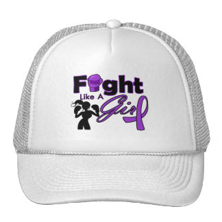 Alzheimer's Disease Fight Like A Girl Silhouette Mesh Hat