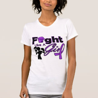 Alzheimer's Disease Fight Like A Girl Silhouette T Shirts