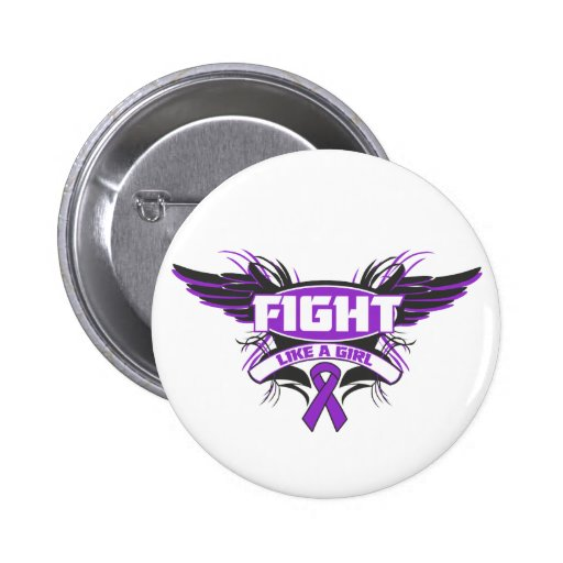 Alzheimers Disease Fight Like a Girl Wings.png 6 Cm Round Badge