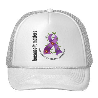 Alzheimers Disease Flower Ribbon 3 Cap