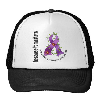 Alzheimers Disease Flower Ribbon 3 Trucker Hat