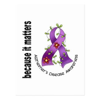 Alzheimers Disease Flower Ribbon 3 Postcards