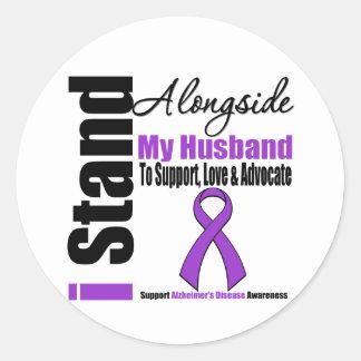 Alzheimers Disease I Stand Alongside My Husband Round Sticker