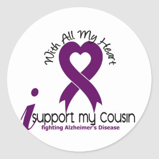 Alzheimers Disease I Support My Cousin Round Stickers