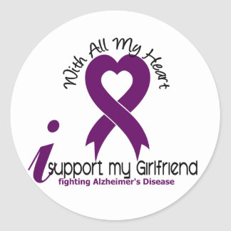 Alzheimers Disease I Support My Girlfriend Round Sticker
