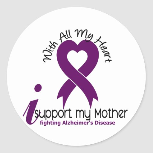 Alzheimers Disease I Support My Mother Round Stickers