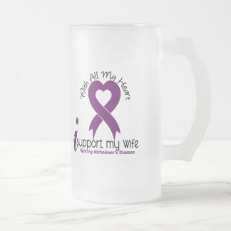 Alzheimers Disease I Support My Wife Frosted Glass Beer Mug