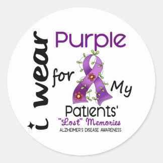 Alzheimers Disease I Wear Purple For My Patients 4 Round Sticker