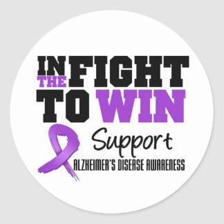 Alzheimer's Disease In The Fight To Win Round Stickers