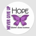 Alzheimer's Disease Never Give Up Hope Butterfly 4 Round Sticker