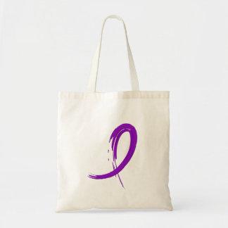 Alzheimer's Disease Purple Ribbon A4 Tote Bags