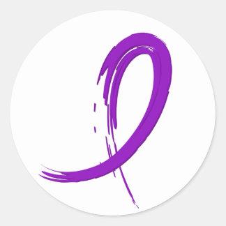 Alzheimer's Disease Purple Ribbon A4 Round Sticker