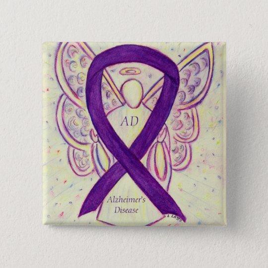 bf6324b0a1a Alzheimer's Disease Purple Ribbon Angel Art Pins