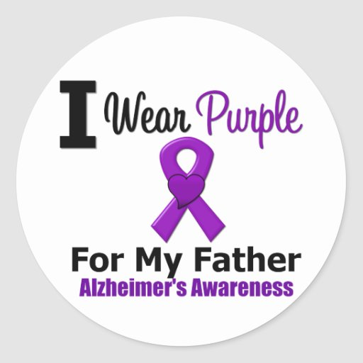Alzheimer's Disease Purple Ribbon For My Father Sticker