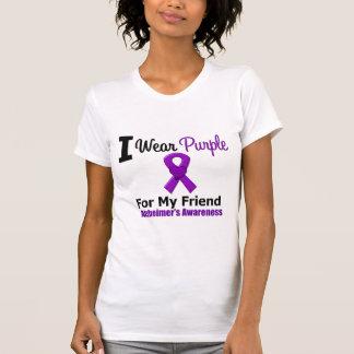 Alzheimer's Disease Purple Ribbon For My Friend Tee Shirts
