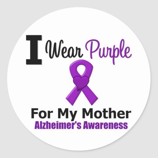 Alzheimer's Disease Purple Ribbon For My Mother Sticker