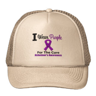 Alzheimer's Disease Purple Ribbon For The Cure Cap