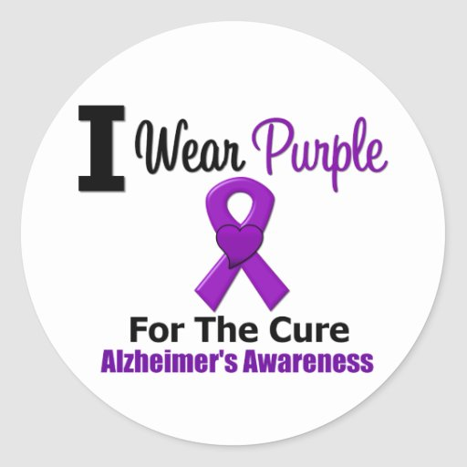 Alzheimer's Disease Purple Ribbon For The Cure Round Sticker