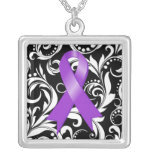 Alzheimer's Disease Ribbon Deco Floral Noir