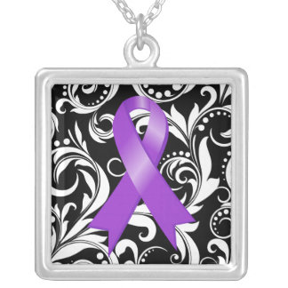 Alzheimer's Disease Ribbon Deco Floral Noir Personalized Necklace