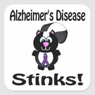 Alzheimers Disease Stinks Skunk Awareness Square Sticker