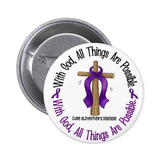 Alzheimer's Disease WITH GOD CROSS 1 6 Cm Round Badge
