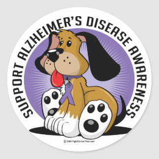 Alzheimers Dog Round Sticker