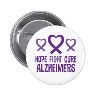 Alzheimer's Hope Fight Cure Ribbon Button