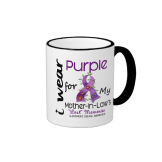 Alzheimers I Wear Purple For My Mother-In-Law Ringer Mug