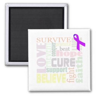 Alzheimer's Inspirational Words Square Magnet