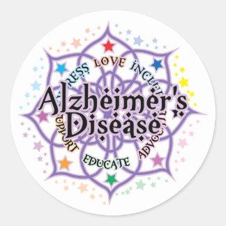 Alzheimers Lotus Round Sticker