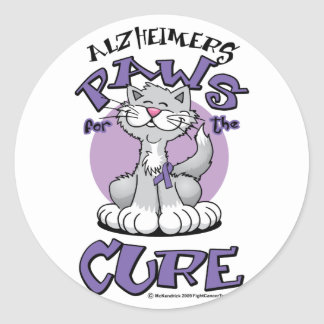 Alzheimers Paws for the Cure Cat Round Stickers