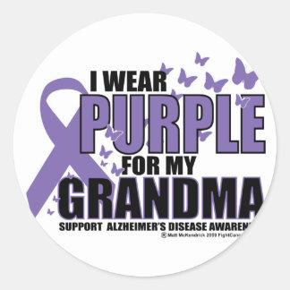 Alzheimers Purple For GRANDMA Round Sticker