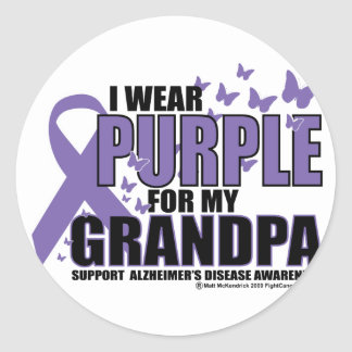 Alzheimers: Purple For GRANDPA Round Sticker