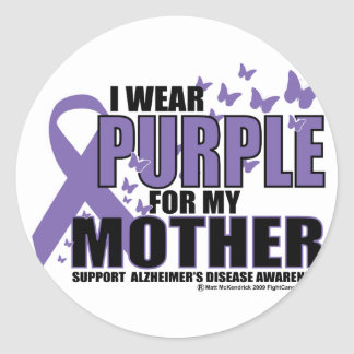 Alzheimers: Purple For MOTHER Round Stickers