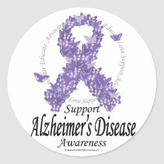 Alzheimers Ribbon of Butterflies Round Sticker