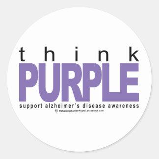 Alzheimers THINK Purple Round Stickers