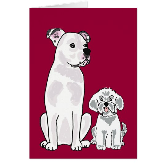AM- Bichon Frise and American Bulldog Notecard