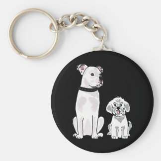 AM - Bishon Frise and American Bulldog Keychain